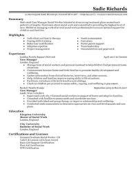 Sample Resume For Social Worker Benefits Manager Casemples Templates