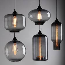 living luxury industrial glass pendant light 7 modern smoky grey shade loft cafe hanging lighting clear