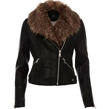 river island faux fur collar biker jacket black river island stylish women river island