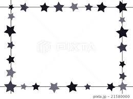 四角いフレーム 星 モノクロのイラスト素材 21580000 Pixta