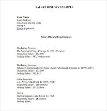 Resume Templates Salary Requirements Resume With Salary History