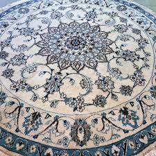 beautiful round nain with silk persian carpet 195 cm unique size