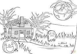 Halloween Haunted House Coloring Pages Printable Coloring Page For