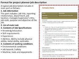 4 format for project planner job description material planner job description