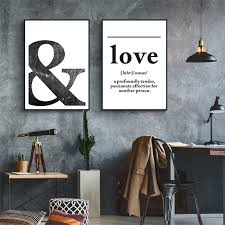 Black and White LOVE Definition Wall Art Canvas Painting Poster Print Nordic Scandinavian Pictures for Bedroom Home Decor