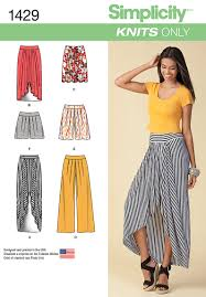 Simplicity Skirt Patterns Unique Simplicity 48 Misses' Pull On Knit Skirt Pants Shorts