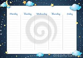 Cute Weekly Planner Night Theme Cartoon Vector Cartoondealer Com