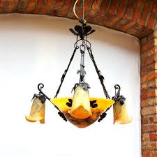 art nouveau style chandelier blown glass wrought iron oled vigne coupe by hugues thieffry
