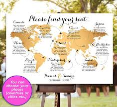 Map Seating Chart Wedding Wedding Seating Chart Rush Service Gold World Map Plane