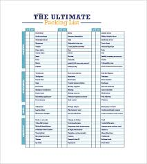 Packing List Template 10 Free Sample Example Format