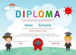 Детский сад сертификатов и элементарное шаблон дизайна   Детский сад сертификатов и элементарное шаблон дизайна предпосылки сертификата диплома детей preschool Иллюстрация вектора