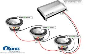 subwoofer wiring diagrams sonic electronix three single 8 ohm subs 2 7 ohm mono see diagram