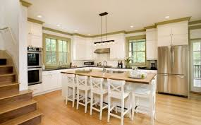 French Country Kitchen Decorating Ideas With Bamboo Flooring Design And White Island Using Wooden Countertop