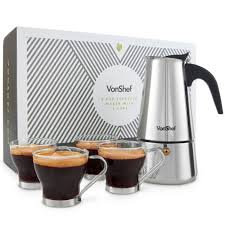 Vonshef 6 cup espresso maker with 4 cups master the art of making deliciously extremely easy to use, this espresso maker will make pricey coffee shop trips a thing of the past. Vonshef Percolator Stove Top Espresso Coffee Maker With 4 Glass Demitasse Cups Stainless Steel 6 Cup