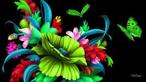 Neon Green Flower Wallpaper