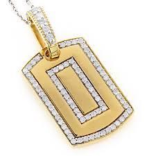 small 14k gold diamond dog tag pendant round diamonds 0 87ct yellow image