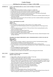 Early Childhood Teacher Resume Samples | Velvet Jobs