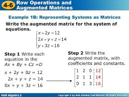 example 1b representing systems as matrices