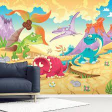 dinosaurs cartoon wall mural wallsauce se