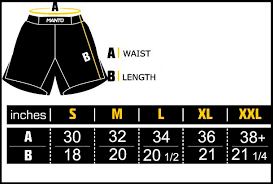 Cage Fighter Shorts Size Chart