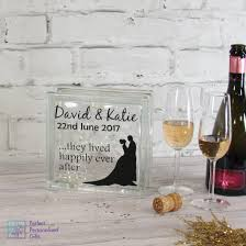 personalised wedding silhouette led glass block