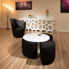 Coffee Table Stool Modern White Round Coffee Table With 4 Black Cushioned Stools New