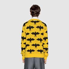 gucci sweater. gucci bat jacquard crewneck sweater detail 4