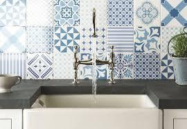 kitchen splashback with cement tiles