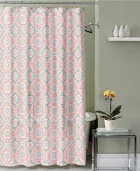 Coral Design Shower Curtain Coral White Grey Fabric Shower Curtain Ornate Medallion Design