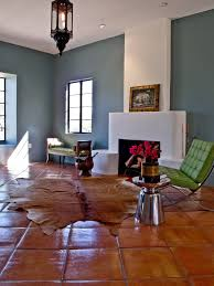terracotta floor tile living room eclectic with tin morry s fireplace los angeles fireplace design los angeles