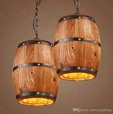 american country loft wood wine barrel hanging fixture ceiling pendant lamp e27 light for bar cafe living dining room restaurant large pendant lighting