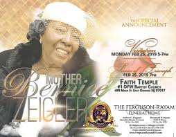 Official Announcement for services for Mother Bernice Zeigler ...