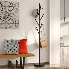Free Standing Coat Rack With Shelf Mercury Row Freestanding Black Coat Rack Reviews Wayfair 37