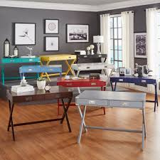 Create a home workstation with plenty of style with the Kenton two-drawer  writing desk from Inspire Q. Multiple color options help you match the rest  of ...