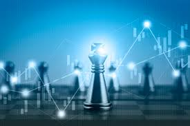 Double Exposure Financial Market Stock Chart With Chess