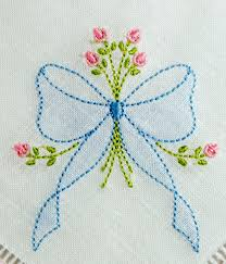 Allstitch Embroidery Designs Se1002 Shadow Embroidered Bow With Rosebud Spray Ribbon