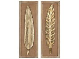 sterling gold leaf natural linen light wood tone metallic leaves wall decor two on gold leaf feather wall art with modern 3d wall art luxedecor