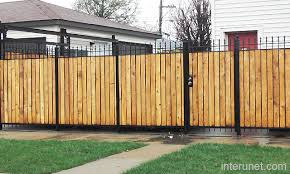 Metal fence with wood combination picture interunet