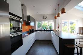 modern perfect furniture. Furniture:Elegant Perfect Kitchen Furniture With Black Wood Floor And U Shape Modern White