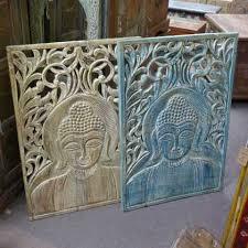 hand carved blue buddha panel jugs