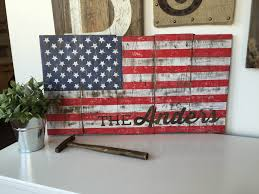 american flag wooden sign