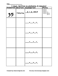 Forms For Word Word Form Expanded Form Standard Form Picture FormPlace Value Chart 64
