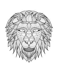 Adult Lion Head 2 Coloring Pages