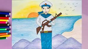 Vẽ chú bộ đội hải quân | Vẽ tranh đề tài bộ đội | Vẽ tranh chú bộ đội đứng  canh gác - YouTube