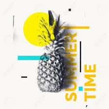 パイナップル夏の時間でおしゃれなモダンなポスターベクトルの図