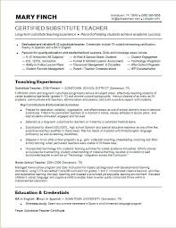 Skills Of A Teacher Resume Sample Resume For A Substitute Teacher