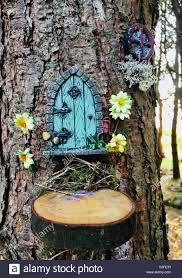 Perfect Porte Féerique Sur Le Tronc De Lu0027arbre Avec Des Fleurs, Maison Dans La  Forêt Magique