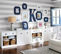 Grey U0026 White Striped Walls For Big Boy Bedroom. Accessorized With Pottery  Barn Sawyer Storage And Interesting Frames.