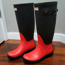 hunter boots size 6 hunter shoes sold boots size 6 red and black poshmark
