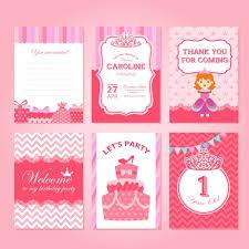 Tarjetas De Cumpleanos De Ninas Tarjetas De Cumpleaños Rosas Con Princesas Vector Gratis